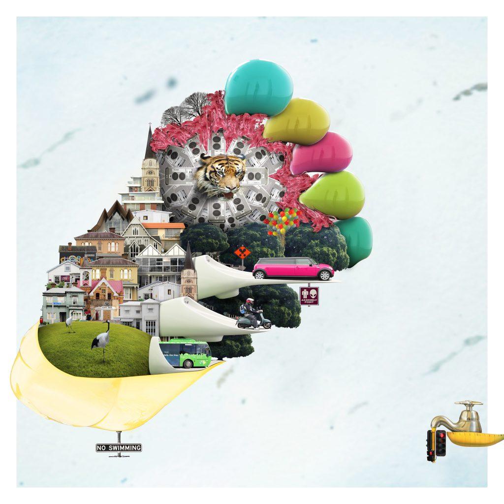 微天堂 –人們都愛玩穿梭遊戲 100×100cm 數位攝像操控 2011